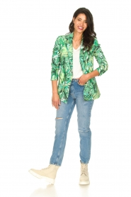 Fracomina |  Blazer with leaves print Wooze | green  | Picture 4