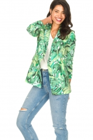 Fracomina |  Blazer with leaves print Wooze | green  | Picture 6