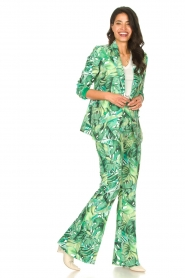 Fracomina |  Blazer with leaves print Wooze | green  | Picture 3