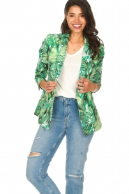 Fracomina |  Blazer with leaves print Wooze | green  | Picture 2