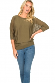Fracomina |  Sweater with bat sleeves Liv | green  | Picture 4