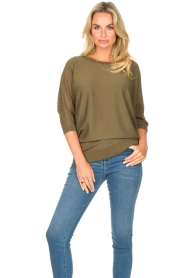 Fracomina |  Sweater with bat sleeves Liv | green  | Picture 5