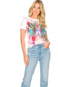 Fracomina | T-shirt met opdruk Frace | wit  | Afbeelding 2