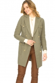 Fracomina |  Jacket with golden details Maya | green  | Picture 4