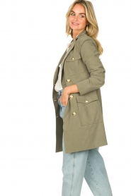 Fracomina |  Double-breasted coat Maya | green  | Picture 7
