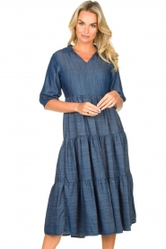Fracomina |  Denim midi-dress Jane | blue  | Picture 4