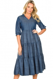 Fracomina |  Denim midi-dress Jane | blue  | Picture 2