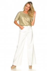 Fracomina | High waist flare Vic | wit   | Afbeelding 2