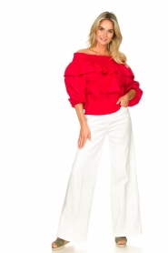 Fracomina | High waist flare Vic | wit   | Afbeelding 3