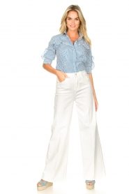 Fracomina | High waist flare Vic | wit   | Afbeelding 4
