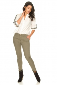 Fracomina |  Cotton chino pants Amy | green  | Picture 2