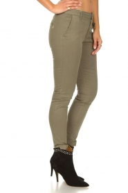 Fracomina |  Cotton chino pants Amy | green  | Picture 4