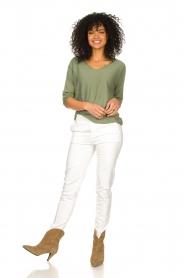 Fracomina |  Cotton chino pants Amy | white  | Picture 2
