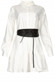 Fracomina |  Blouse dress with waistband Tatum | white  | Picture 1