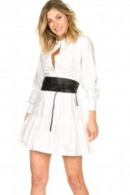 Fracomina |  Blouse dress with waistband Tatum | white  | Picture 4