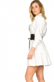 Fracomina |  Blouse dress with waistband Tatum | white  | Picture 7