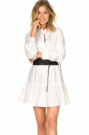 Fracomina |  Blouse dress with waistband Tatum | white  | Picture 5