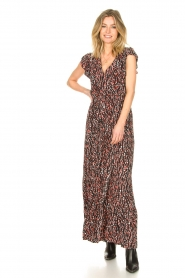 Fracomina |  Maxi dress with animal print Grace | black  | Picture 2