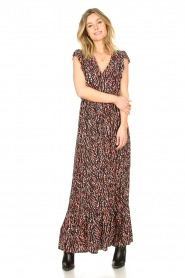 Fracomina |  Maxi dress with animal print Grace | black  | Picture 3