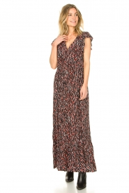 Fracomina |  Maxi dress with animal print Grace | black  | Picture 4