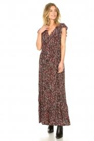 Fracomina | Maxi jurk met dierenprint Grace | zwart   | Afbeelding 4