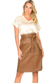 Dante 6 |  Lamb leather skirt Aggy | camel  | Picture 4