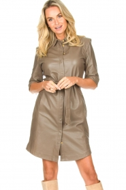 Dante 6 |  Lamb leather button-up dress Lyra | brown  | Picture 4