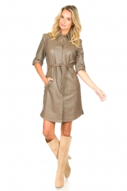 Dante 6 |  Lamb leather button-up dress Lyra | brown  | Picture 3