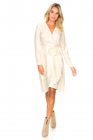 Dante 6 |  Wrap dress with logo print Dayna | natural  | Picture 3