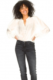 Dante 6 |  Cotton blouse with puff sleeves Ginni | white  | Picture 7