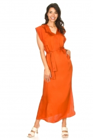 Dante 6 |  Maxi dress with crepe effect Jasiel | orange  | Picture 5