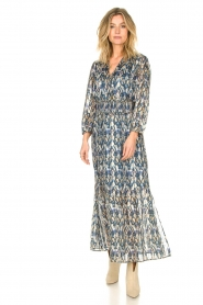 Dante 6 |  Maxi dress with aztec print Bardon | blue  | Picture 2