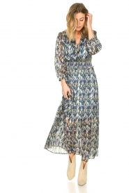 Dante 6 |  Maxi dress with aztec print Bardon | blue  | Picture 4
