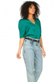 Dante 6 |  Top with puff sleeves Cammie | blue  | Picture 6