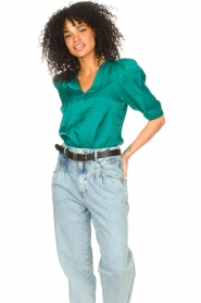 Dante 6 |  Top with puff sleeves Cammie | blue  | Picture 5