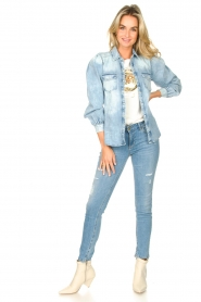 Dante 6 |  Denim blouse with puff sleeves Percey | blauw  | Picture 3