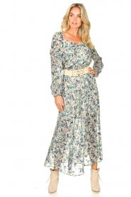 Dante 6 |  Smocked maxi skirt with lurex Armella | blue  | Picture 3