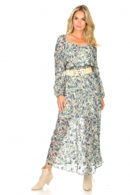 Dante 6 |  Smocked maxi skirt with lurex Armella | blue  | Picture 2