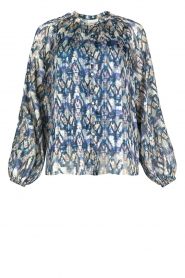 Dante 6 |  Button-up blouse with aztec print Melody | blauw  | Picture 1