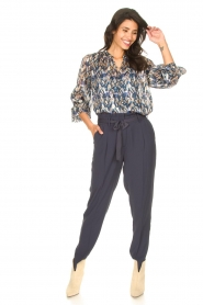Dante 6 |  Button-up blouse with aztec print Melody | blauw  | Picture 3