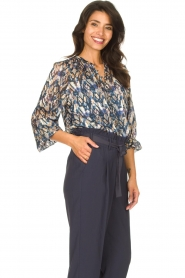 Dante 6 |  Button-up blouse with aztec print Melody | blauw  | Picture 5