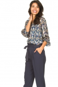 Dante 6 |  Button-up blouse with aztec print Melody | blauw  | Picture 4