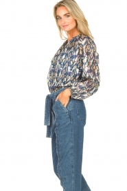 Dante 6 |  Button-up blouse with aztec print Melody | blauw  | Picture 6