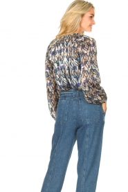 Dante 6 |  Button-up blouse with aztec print Melody | blauw  | Picture 7