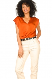 Dante 6 :  Top with crepe effect Saloma | orange - img2