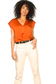 Dante 6 :  Top with crepe effect Saloma | orange - img4