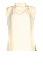 Sleeveless top with draped collar Skylin | naturel
