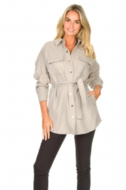 Dante 6 |  Wool coat with fringes Siden | grey  | Picture 2