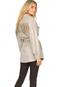 Dante 6 |  Wool coat with fringes Siden | grey  | Picture 8