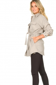 Dante 6 |  Wool coat with fringes Siden | grey  | Picture 7